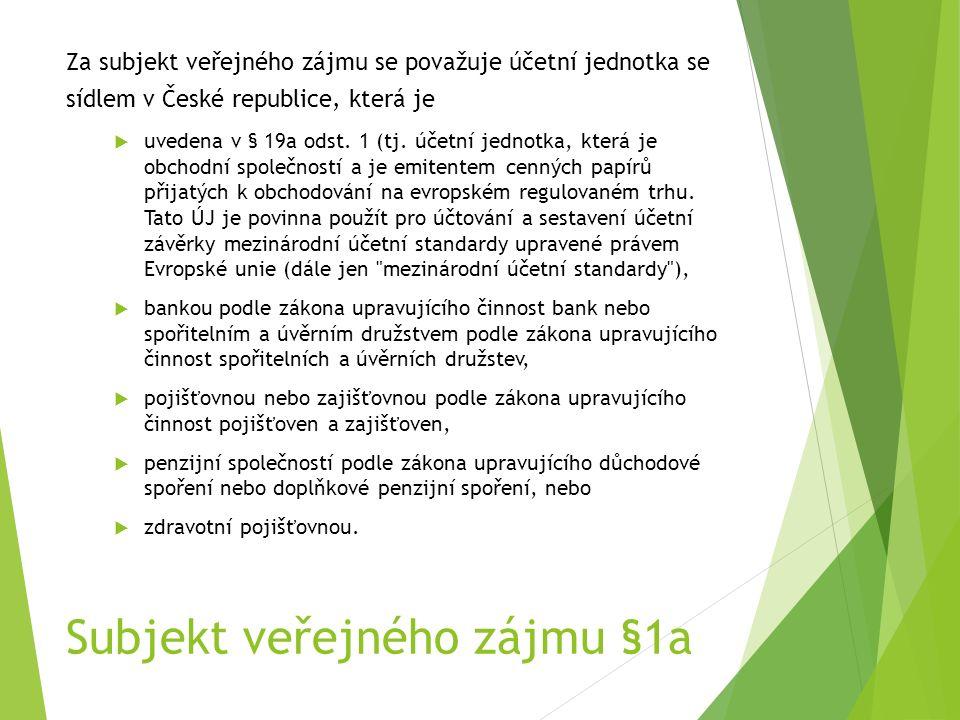 Subjekt veřejného zájmu §1a Za subjekt veřejného zájmu se považuje účetní jednotka se sídlem v České republice, která je  uvedena v § 19a odst.