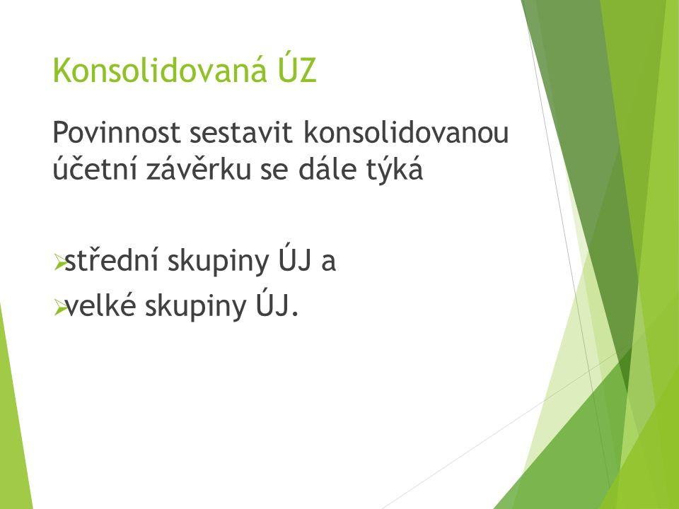 Konsolidovaná ÚZ Povinnost sestavit konsolidovanou účetní závěrku se dále týká  střední skupiny ÚJ a  velké skupiny ÚJ.
