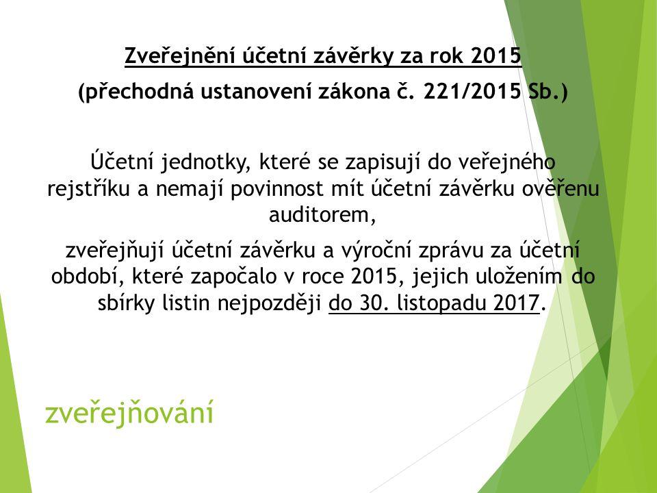 zveřejňování Zveřejnění účetní závěrky za rok 2015 (přechodná ustanovení zákona č.