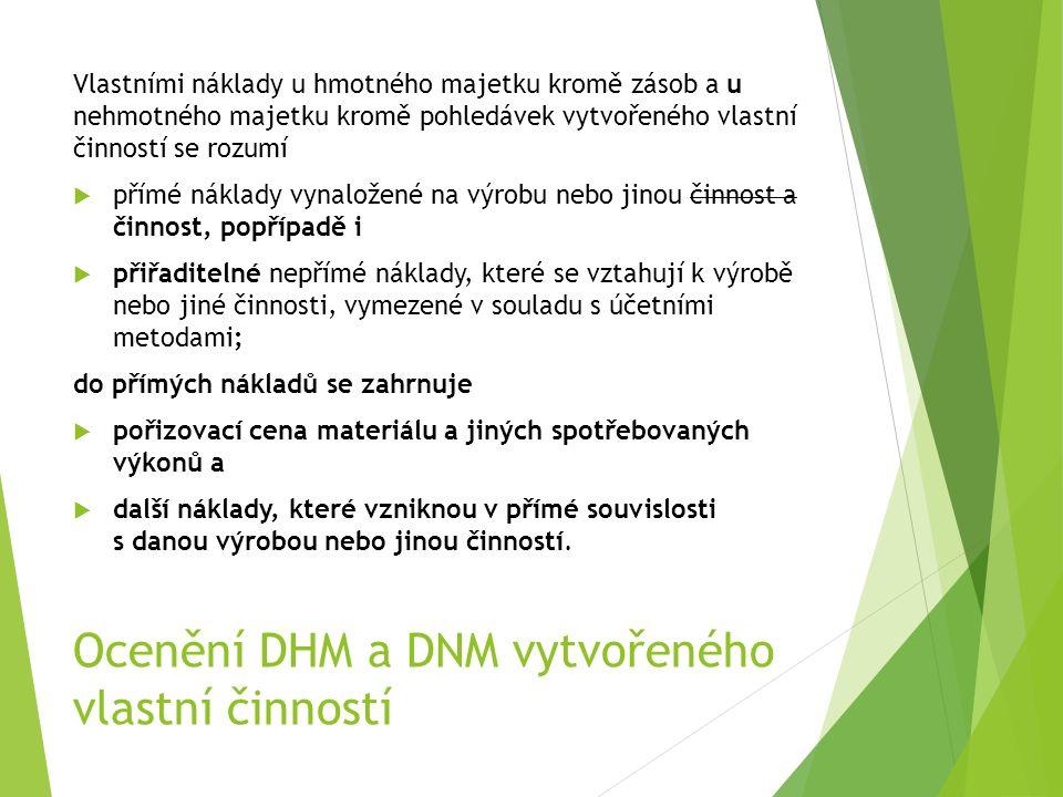 Ocenění DHM a DNM vytvořeného vlastní činností Vlastními náklady u hmotného majetku kromě zásob a u nehmotného majetku kromě pohledávek vytvořeného vl