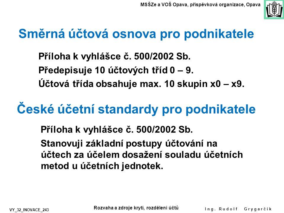 Ing. Rudolf Grygarčík MSŠZe a VOŠ Opava, příspěvková organizace, Opava Směrná účtová osnova pro podnikatele Příloha k vyhlášce č. 500/2002 Sb. Předepi