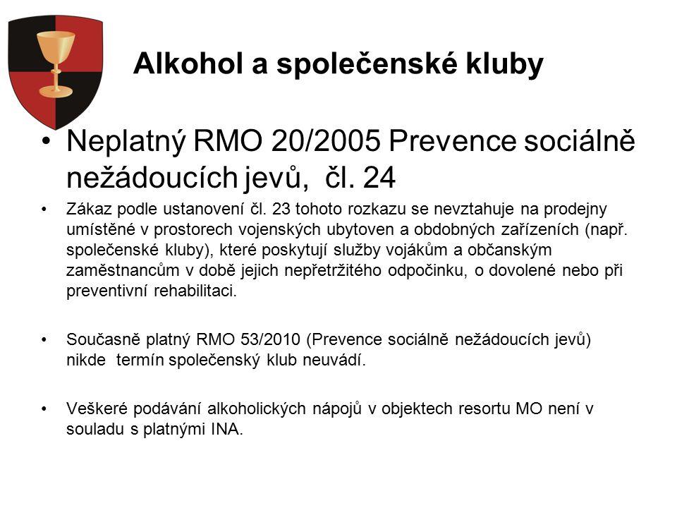 Alkohol a společenské kluby Neplatný RMO 20/2005 Prevence sociálně nežádoucích jevů, čl.