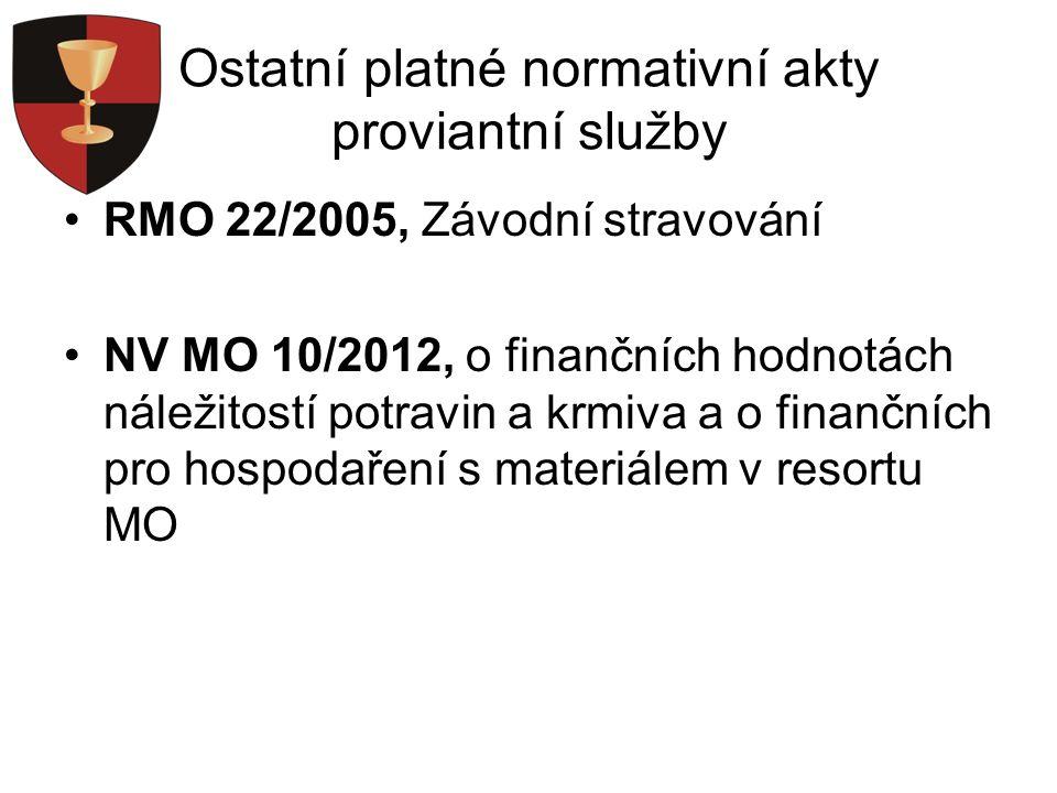 Ostatní platné normativní akty proviantní služby RMO 22/2005, Závodní stravování NV MO 10/2012, o finančních hodnotách náležitostí potravin a krmiva a o finančních pro hospodaření s materiálem v resortu MO