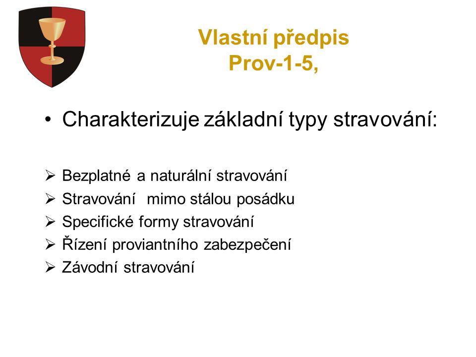 Vlastní předpis Prov-1-5, Charakterizuje základní typy stravování:  Bezplatné a naturální stravování  Stravování mimo stálou posádku  Specifické formy stravování  Řízení proviantního zabezpečení  Závodní stravování