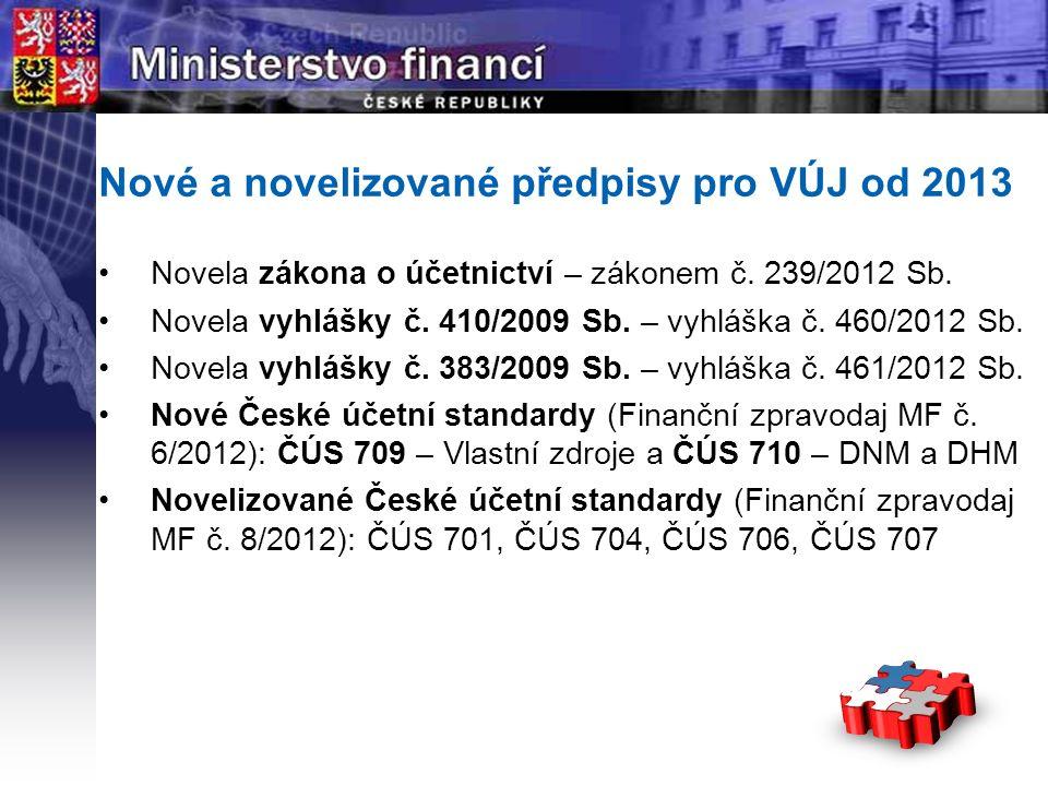 Page  2 YOUR LOGO STÁTNÍ Nové a novelizované předpisy pro VÚJ od 2013 Novela zákona o účetnictví – zákonem č.