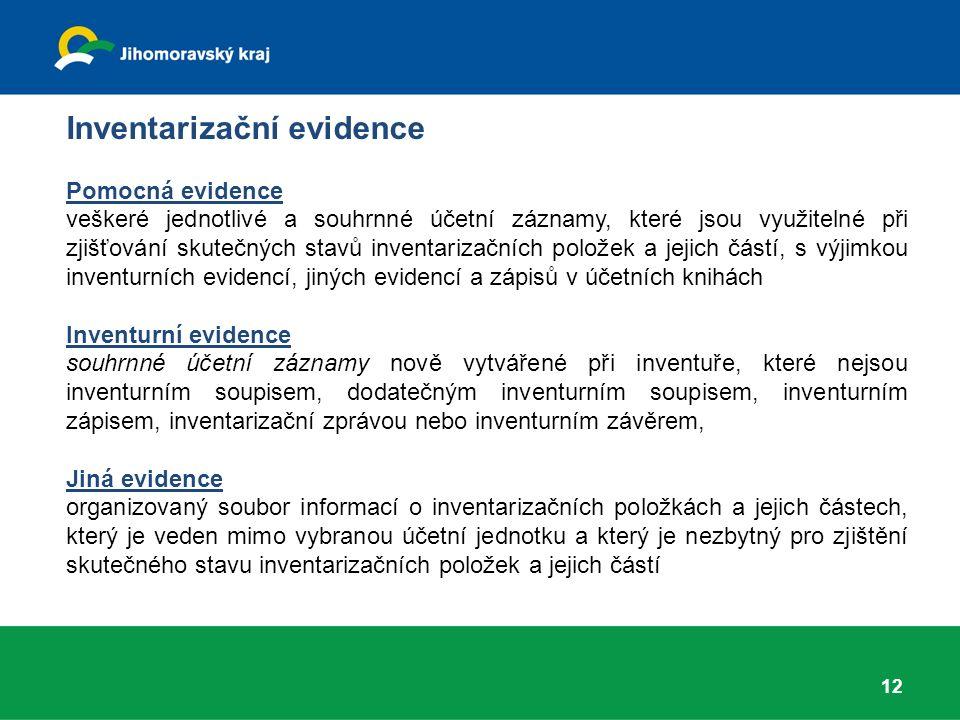 Inventarizační evidence Pomocná evidence veškeré jednotlivé a souhrnné účetní záznamy, které jsou využitelné při zjišťování skutečných stavů inventarizačních položek a jejich částí, s výjimkou inventurních evidencí, jiných evidencí a zápisů v účetních knihách Inventurní evidence souhrnné účetní záznamy nově vytvářené při inventuře, které nejsou inventurním soupisem, dodatečným inventurním soupisem, inventurním zápisem, inventarizační zprávou nebo inventurním závěrem, Jiná evidence organizovaný soubor informací o inventarizačních položkách a jejich částech, který je veden mimo vybranou účetní jednotku a který je nezbytný pro zjištění skutečného stavu inventarizačních položek a jejich částí 12