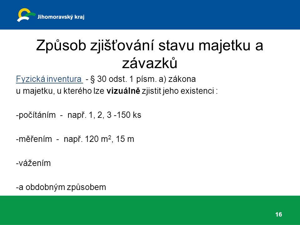 Způsob zjišťování stavu majetku a závazků Fyzická inventura - § 30 odst.