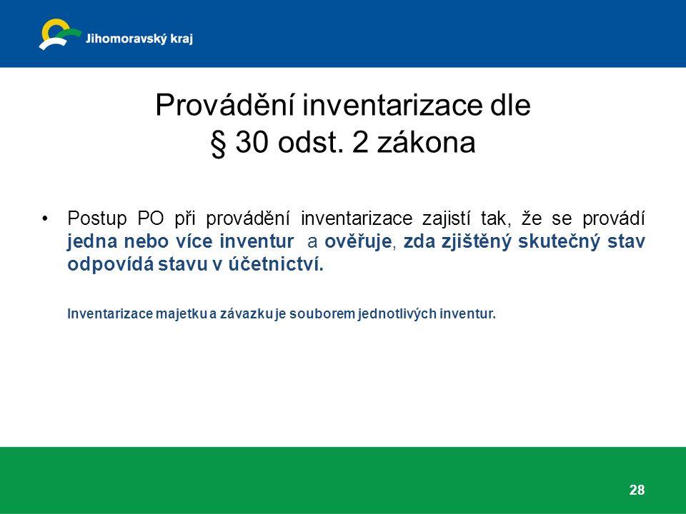 Provádění inventarizace dle § 30 odst.
