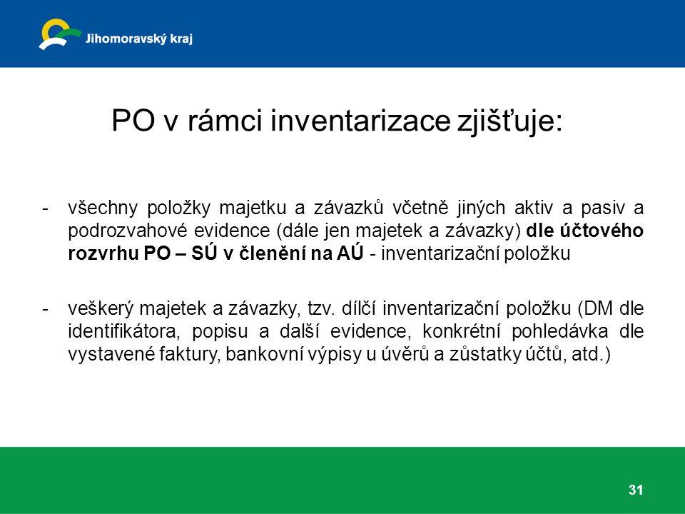 PO v rámci inventarizace zjišťuje: -všechny položky majetku a závazků včetně jiných aktiv a pasiv a podrozvahové evidence (dále jen majetek a závazky) dle účtového rozvrhu PO – SÚ v členění na AÚ - inventarizační položku -veškerý majetek a závazky, tzv.