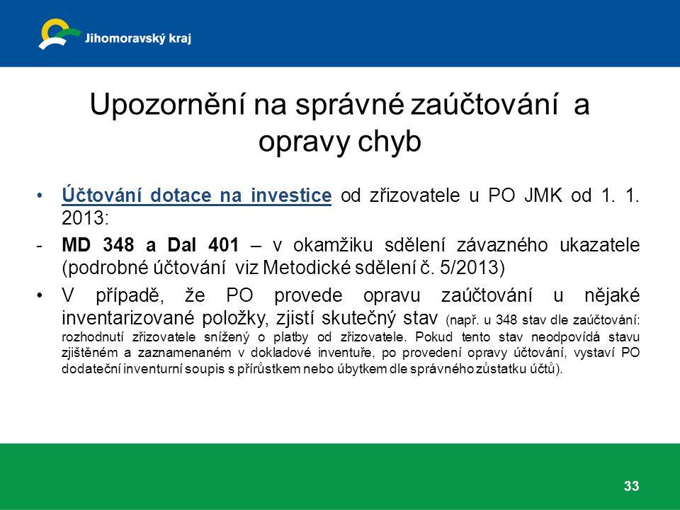 Upozornění na správné zaúčtování a opravy chyb Účtování dotace na investice od zřizovatele u PO JMK od 1.