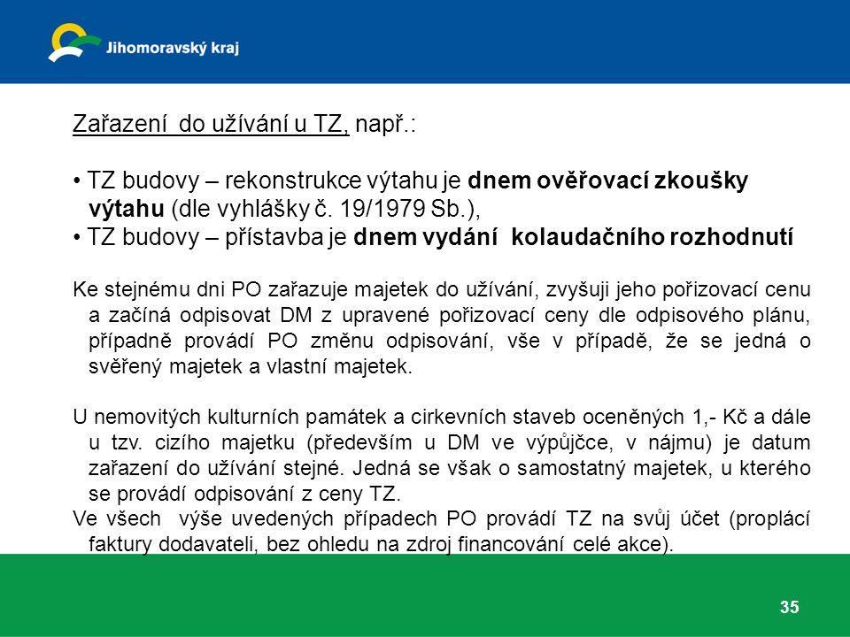 Zařazení do užívání u TZ, např.: TZ budovy – rekonstrukce výtahu je dnem ověřovací zkoušky výtahu (dle vyhlášky č.