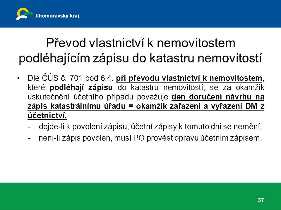 Převod vlastnictví k nemovitostem podléhajícím zápisu do katastru nemovitostí Dle ČÚS č.