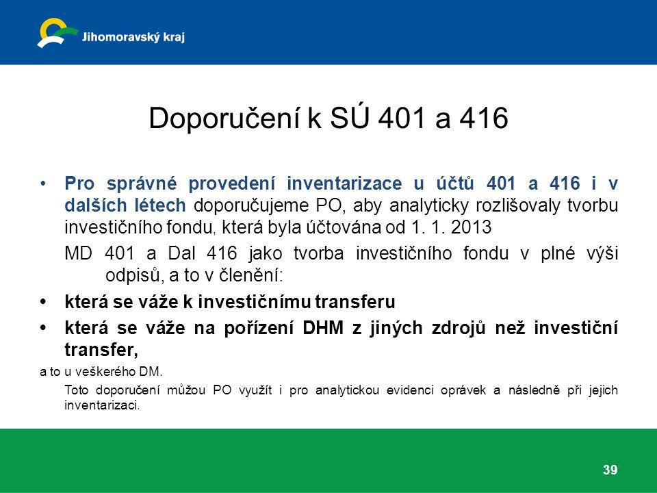 Doporučení k SÚ 401 a 416 Pro správné provedení inventarizace u účtů 401 a 416 i v dalších létech doporučujeme PO, aby analyticky rozlišovaly tvorbu investičního fondu, která byla účtována od 1.