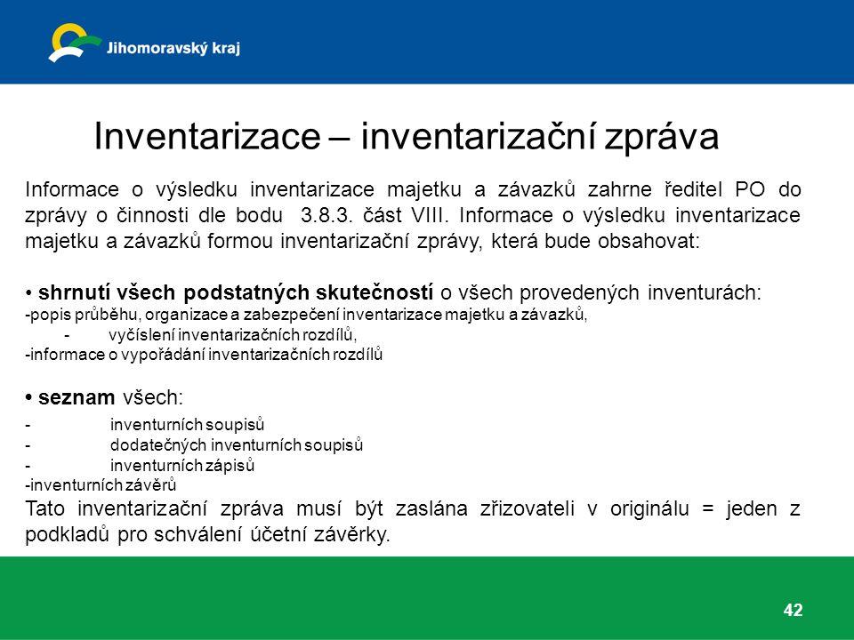 Inventarizace – inventarizační zpráva Informace o výsledku inventarizace majetku a závazků zahrne ředitel PO do zprávy o činnosti dle bodu 3.8.3.