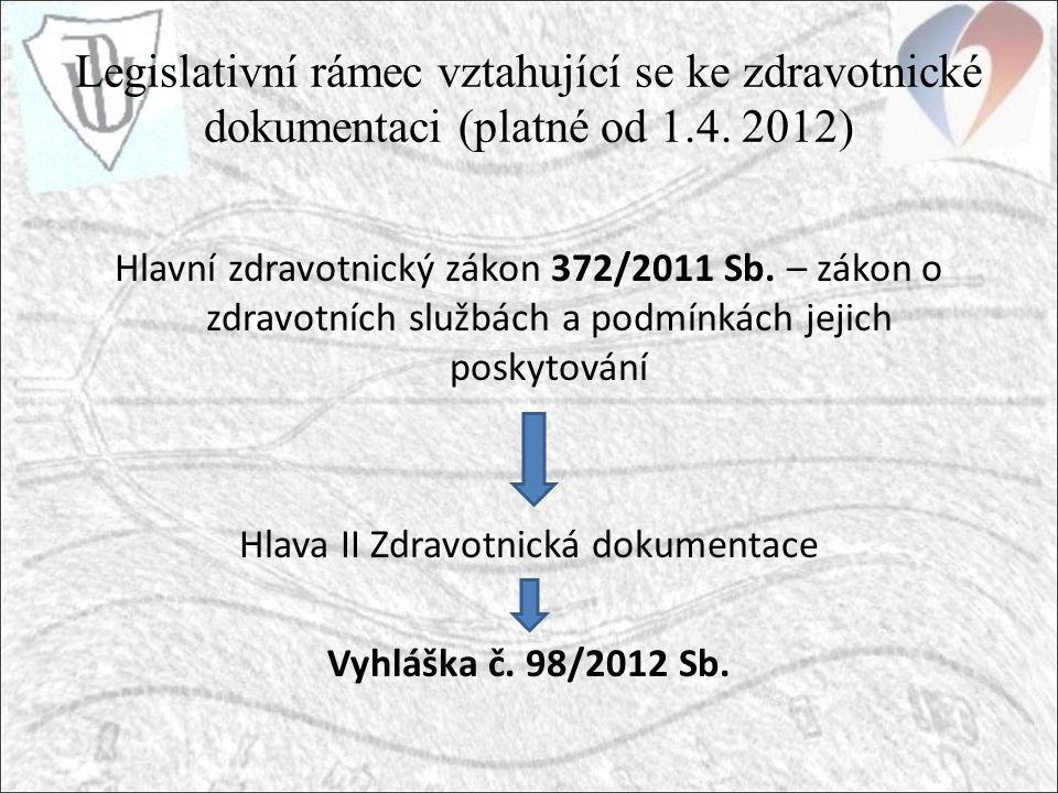 Legislativní rámec vztahující se ke zdravotnické dokumentaci (platné od 1.4.