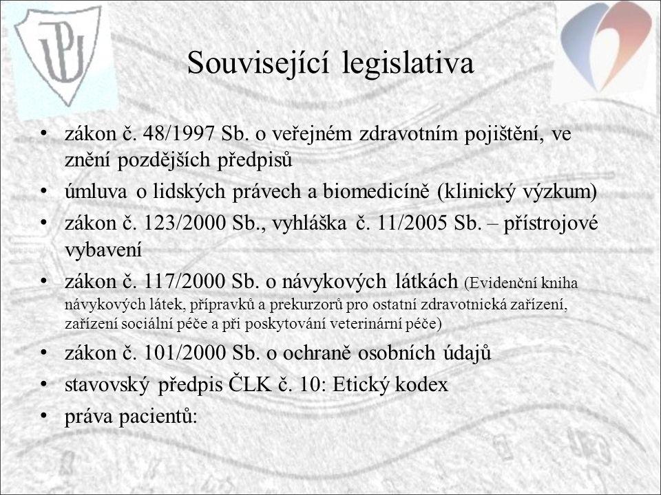 Související legislativa zákon č. 48/1997 Sb.