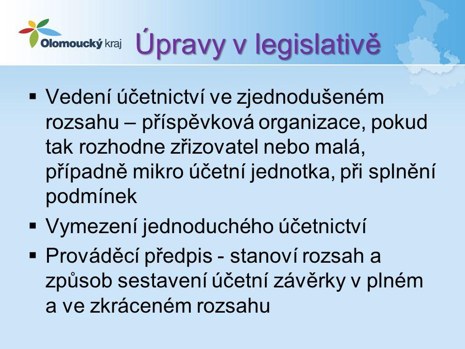 Úpravy v legislativě  Vedení účetnictví ve zjednodušeném rozsahu – příspěvková organizace, pokud tak rozhodne zřizovatel nebo malá, případně mikro účetní jednotka, při splnění podmínek  Vymezení jednoduchého účetnictví  Prováděcí předpis - stanoví rozsah a způsob sestavení účetní závěrky v plném a ve zkráceném rozsahu