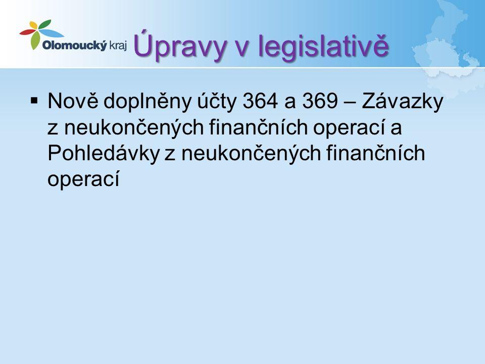 Úpravy v legislativě  Nově doplněny účty 364 a 369 – Závazky z neukončených finančních operací a Pohledávky z neukončených finančních operací