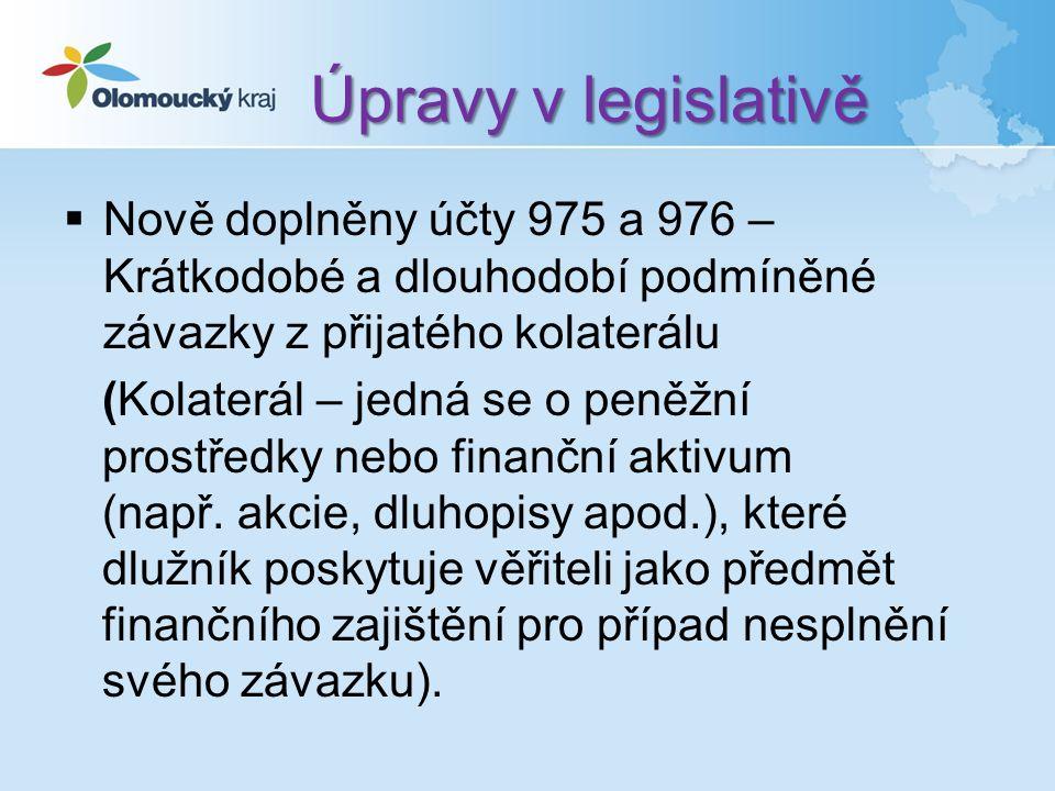 Úpravy v legislativě  Nově doplněny účty 975 a 976 – Krátkodobé a dlouhodobí podmíněné závazky z přijatého kolaterálu (Kolaterál – jedná se o peněžní prostředky nebo finanční aktivum (např.