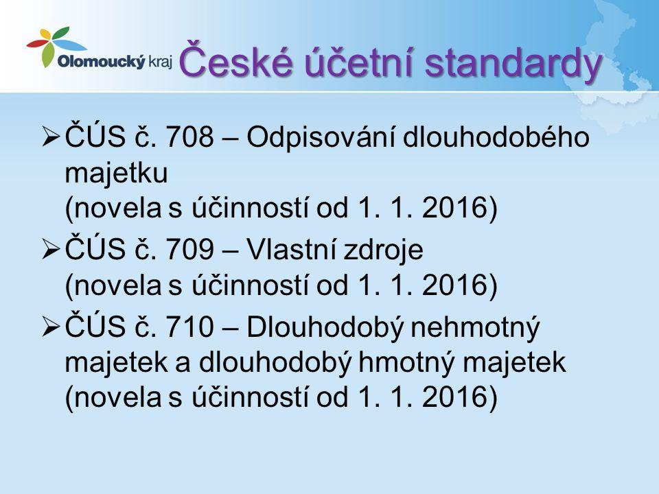 České účetní standardy  ČÚS č. 708 – Odpisování dlouhodobého majetku (novela s účinností od 1.