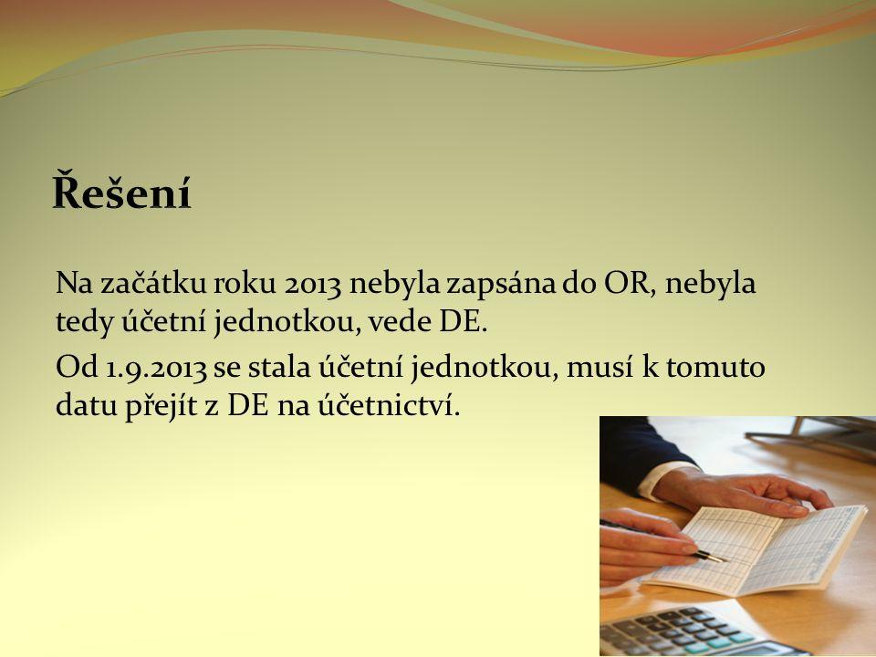 Na začátku roku 2013 nebyla zapsána do OR, nebyla tedy účetní jednotkou, vede DE.