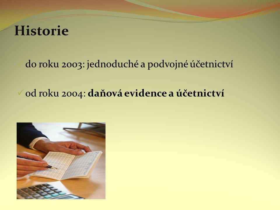 Historie do roku 2003: jednoduché a podvojné účetnictví od roku 2004: daňová evidence a účetnictví
