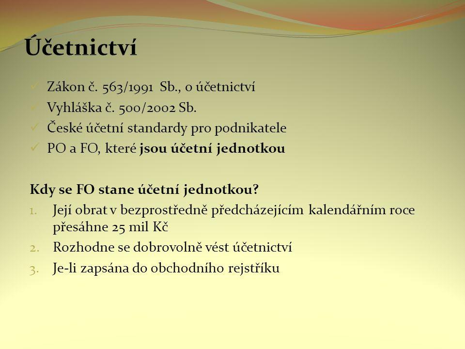 Zákon č. 563/1991 Sb., o účetnictví Vyhláška č. 500/2002 Sb.