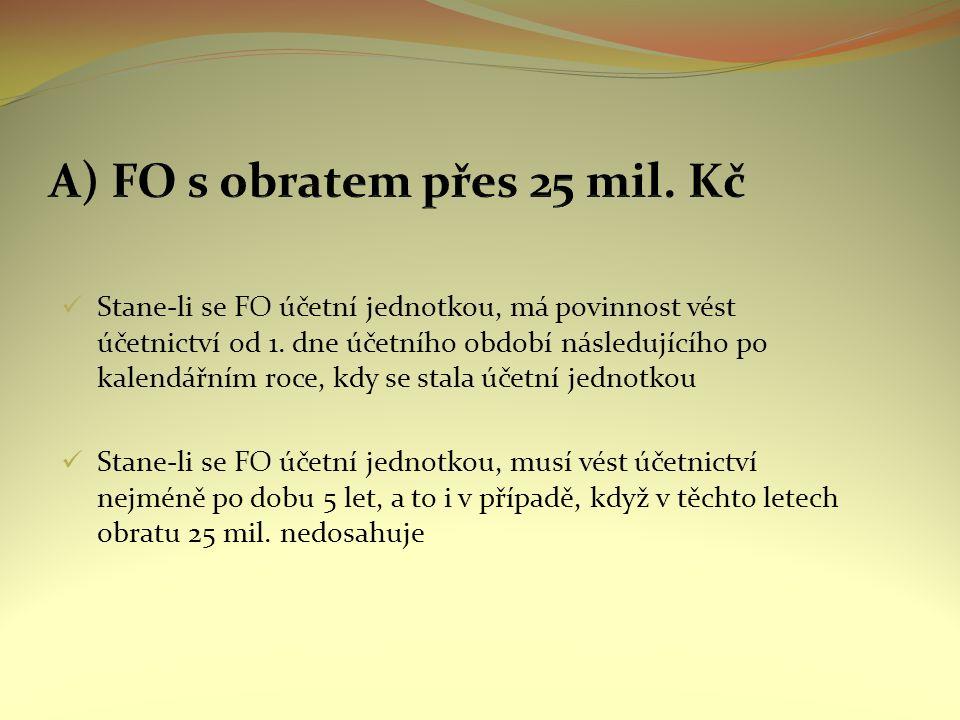 Stane-li se FO účetní jednotkou, má povinnost vést účetnictví od 1.