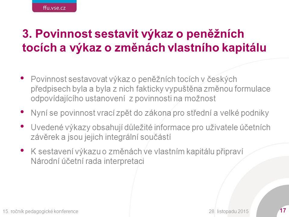 3. Povinnost sestavit výkaz o peněžních tocích a výkaz o změnách vlastního kapitálu Povinnost sestavovat výkaz o peněžních tocích v českých předpisech