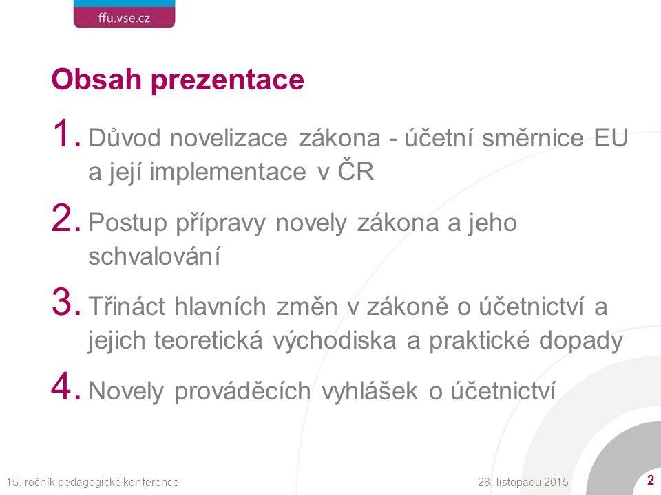 Obsah prezentace 1. Důvod novelizace zákona - účetní směrnice EU a její implementace v ČR 2.