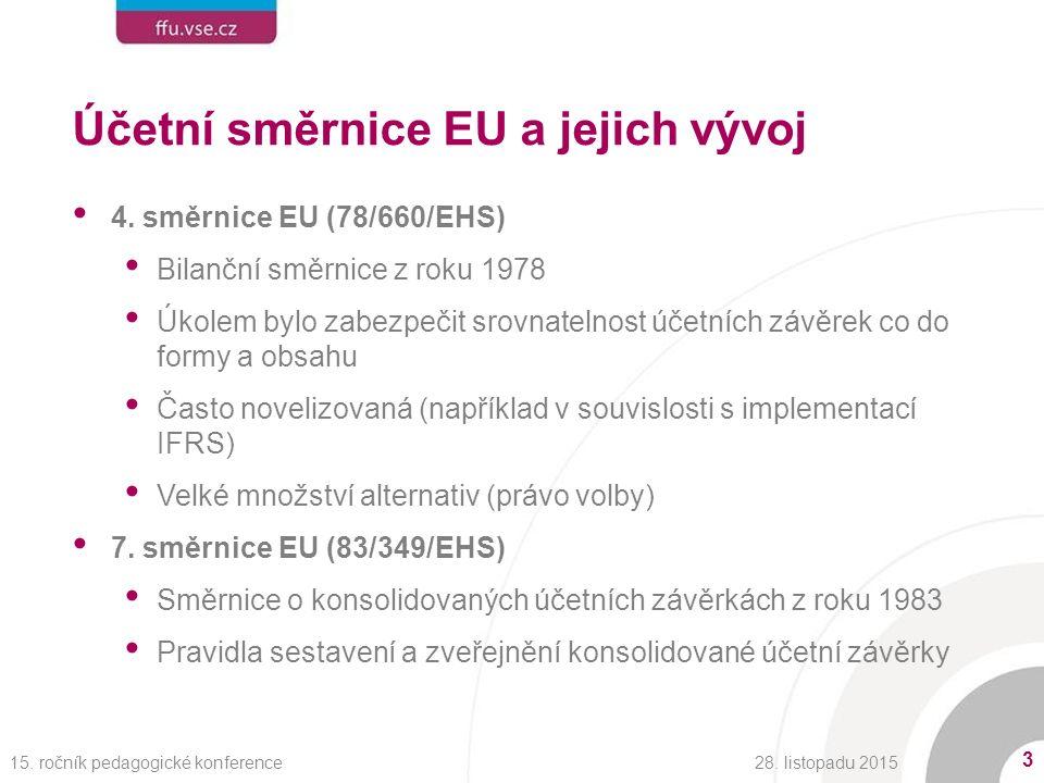 Účetní směrnice EU a jejich vývoj 4.