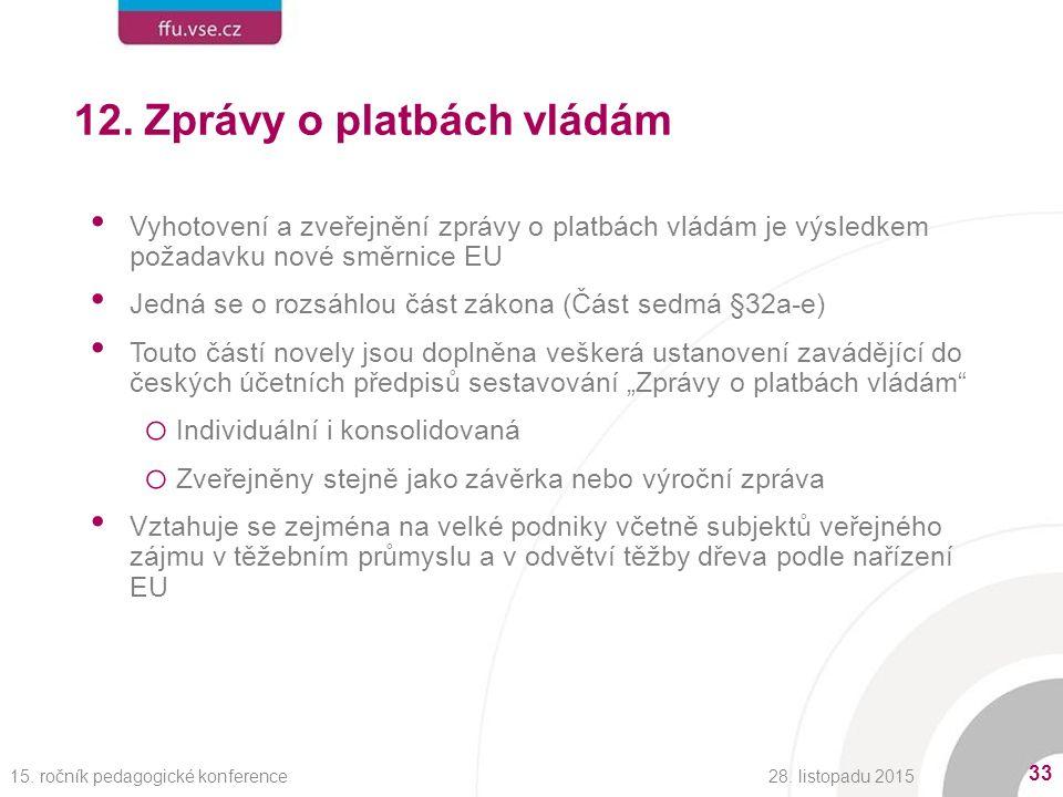 12. Zprávy o platbách vládám Vyhotovení a zveřejnění zprávy o platbách vládám je výsledkem požadavku nové směrnice EU Jedná se o rozsáhlou část zákona