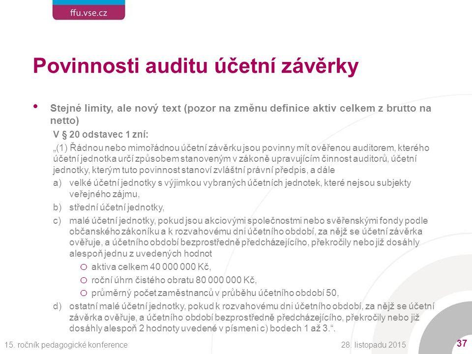 """Povinnosti auditu účetní závěrky Stejné limity, ale nový text (pozor na změnu definice aktiv celkem z brutto na netto) V § 20 odstavec 1 zní: """"(1) Řádnou nebo mimořádnou účetní závěrku jsou povinny mít ověřenou auditorem, kterého účetní jednotka určí způsobem stanoveným v zákoně upravujícím činnost auditorů, účetní jednotky, kterým tuto povinnost stanoví zvláštní právní předpis, a dále a)velké účetní jednotky s výjimkou vybraných účetních jednotek, které nejsou subjekty veřejného zájmu, b)střední účetní jednotky, c)malé účetní jednotky, pokud jsou akciovými společnostmi nebo svěřenskými fondy podle občanského zákoníku a k rozvahovému dni účetního období, za nějž se účetní závěrka ověřuje, a účetního období bezprostředně předcházejícího, překročily nebo již dosáhly alespoň jednu z uvedených hodnot o aktiva celkem 40 000 000 Kč, o roční úhrn čistého obratu 80 000 000 Kč, o průměrný počet zaměstnanců v průběhu účetního období 50, d)ostatní malé účetní jednotky, pokud k rozvahovému dni účetního období, za nějž se účetní závěrka ověřuje, a účetního období bezprostředně předcházejícího, překročily nebo již dosáhly alespoň 2 hodnoty uvedené v písmeni c) bodech 1 až 3. ."""