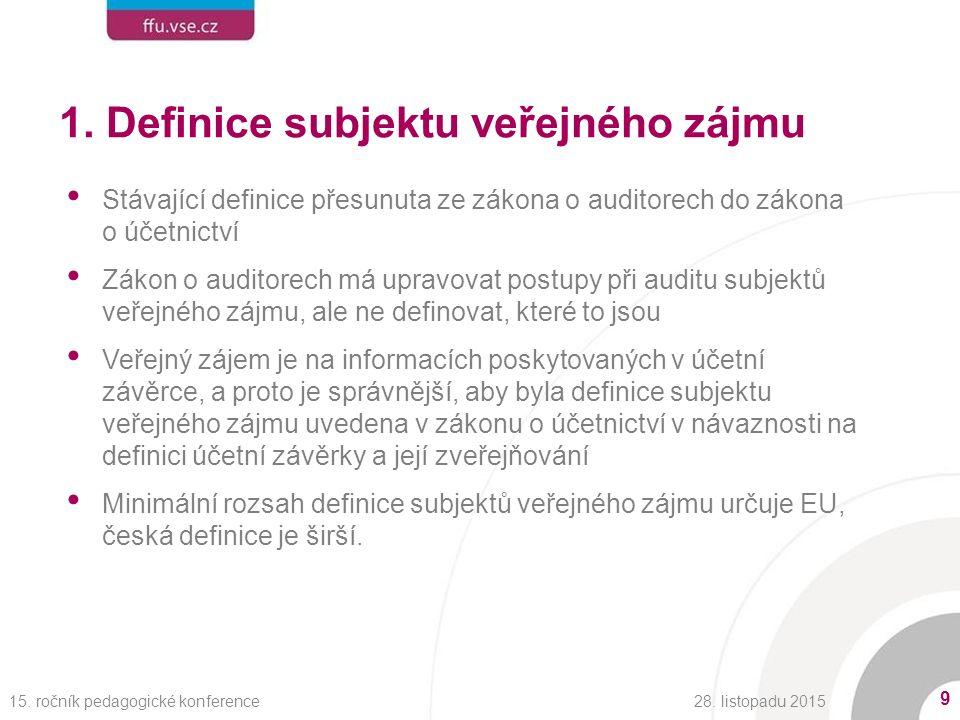 1. Definice subjektu veřejného zájmu Stávající definice přesunuta ze zákona o auditorech do zákona o účetnictví Zákon o auditorech má upravovat postup