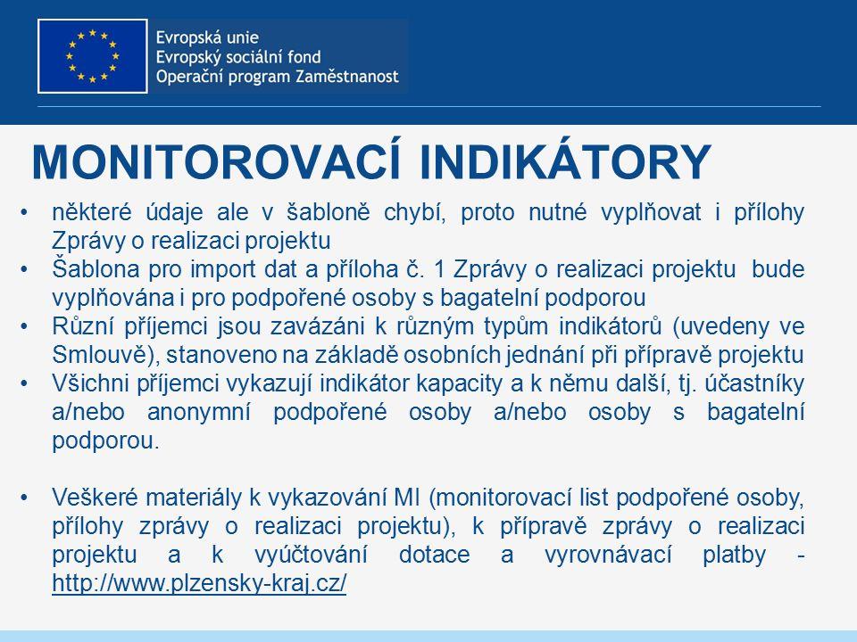 MONITOROVACÍ INDIKÁTORY některé údaje ale v šabloně chybí, proto nutné vyplňovat i přílohy Zprávy o realizaci projektu Šablona pro import dat a příloha č.