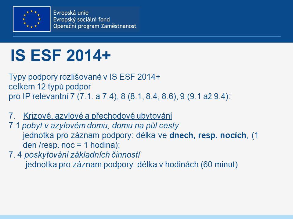 IS ESF 2014+ Typy podpory rozlišované v IS ESF 2014+ celkem 12 typů podpor pro IP relevantní 7 (7.1.