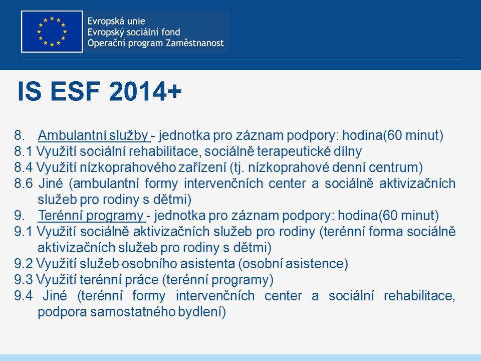 IS ESF 2014+ 8.Ambulantní služby - jednotka pro záznam podpory: hodina(60 minut) 8.1 Využití sociální rehabilitace, sociálně terapeutické dílny 8.4 Využití nízkoprahového zařízení (tj.
