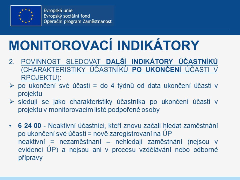 MONITOROVACÍ INDIKÁTORY 2.POVINNOST SLEDOVAT DALŠÍ INDIKÁTORY ÚČASTNÍKŮ (CHARAKTERISTIKY ÚČASTNÍKŮ PO UKONČENÍ ÚČASTI V RPOJEKTU):  po ukončení své účasti = do 4 týdnů od data ukončení účasti v projektu  sledují se jako charakteristiky účastníka po ukončení účasti v projektu v monitorovacím listě podpořené osoby 6 24 00 - Neaktivní účastníci, kteří znovu začali hledat zaměstnání po ukončení své účasti = nově zaregistrovaní na ÚP neaktivní = nezaměstnaní – nehledají zaměstnání (nejsou v evidenci ÚP) a nejsou ani v procesu vzdělávání nebo odborné přípravy