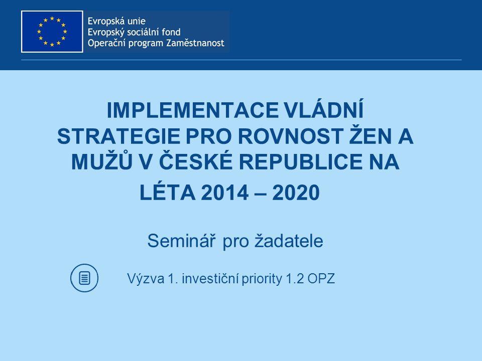 PROGRAM SEMINÁŘE 1.Představení vládní strategie 2.Představení výzev 3.Indikátory 4.Partnerství v projektech 5.Hodnocení a výběr projektů 6.Publicita 7.Rozpočet projektů 8.Informační systém 9.Dotazy 2
