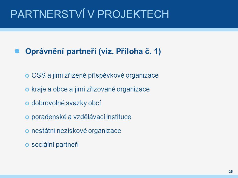 PARTNERSTVÍ V PROJEKTECH Oprávnění partneři (viz. Příloha č.