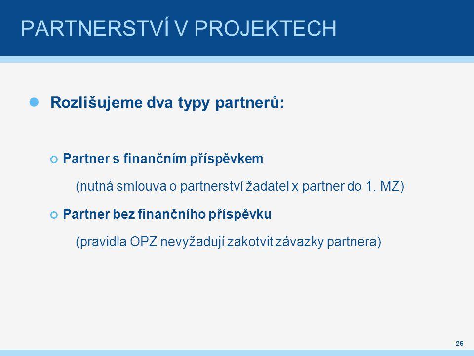 PARTNERSTVÍ V PROJEKTECH Rozlišujeme dva typy partnerů: Partner s finančním příspěvkem (nutná smlouva o partnerství žadatel x partner do 1.