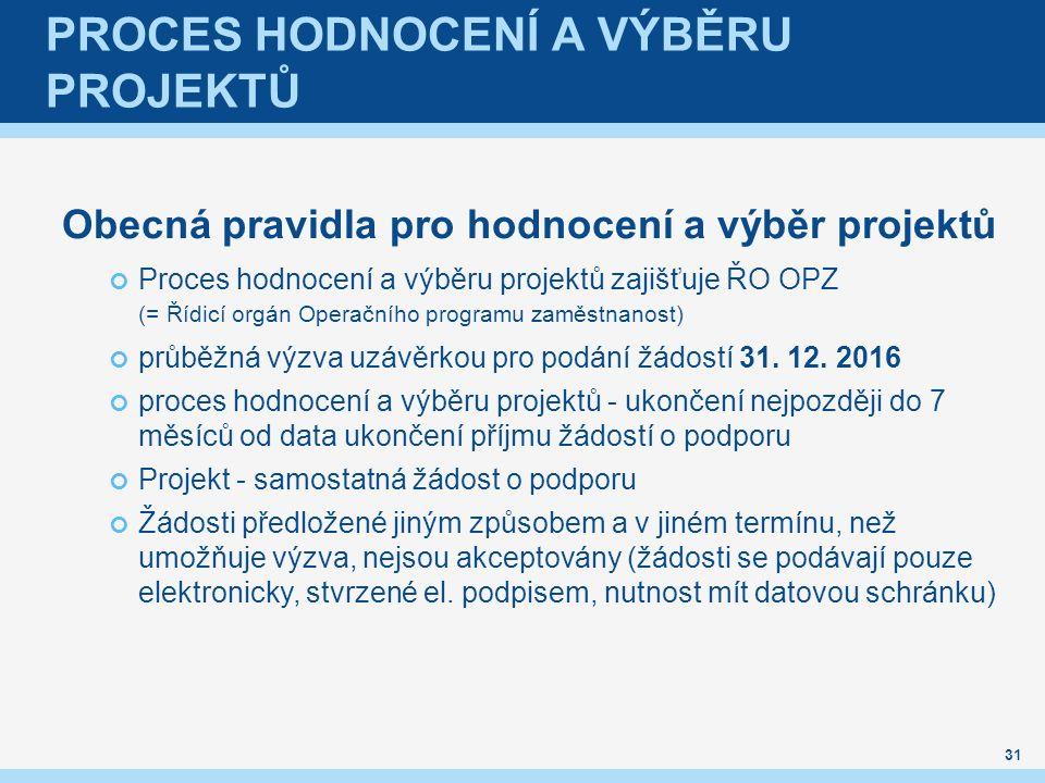 PROCES HODNOCENÍ A VÝBĚRU PROJEKTŮ Obecná pravidla pro hodnocení a výběr projektů Proces hodnocení a výběru projektů zajišťuje ŘO OPZ (= Řídicí orgán Operačního programu zaměstnanost) průběžná výzva uzávěrkou pro podání žádostí 31.