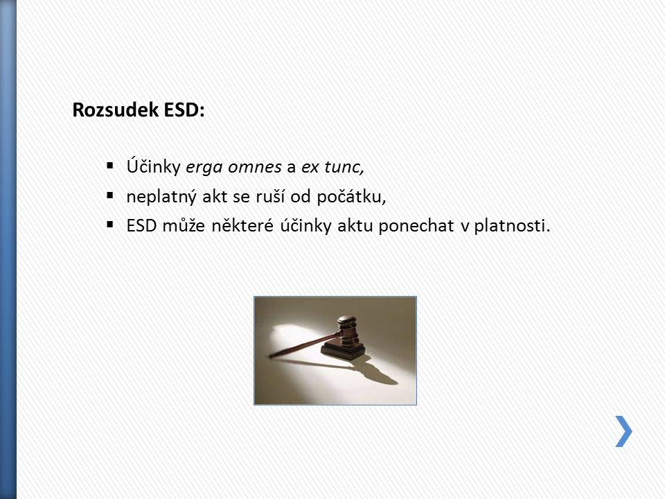 Rozsudek ESD:  Účinky erga omnes a ex tunc,  neplatný akt se ruší od počátku,  ESD může některé účinky aktu ponechat v platnosti.