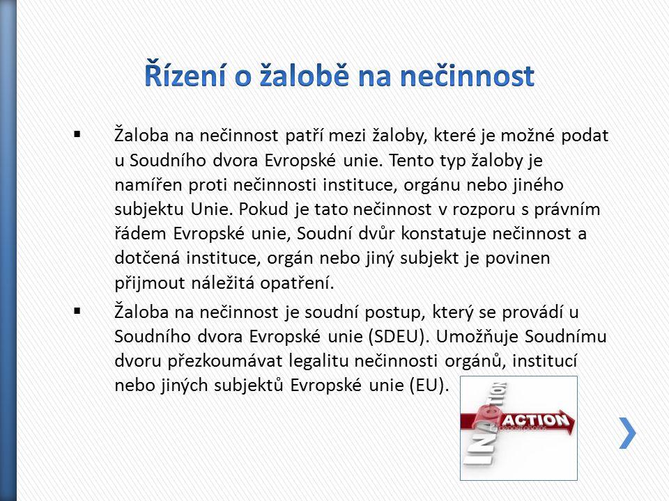  Žaloba na nečinnost patří mezi žaloby, které je možné podat u Soudního dvora Evropské unie. Tento typ žaloby je namířen proti nečinnosti instituce,