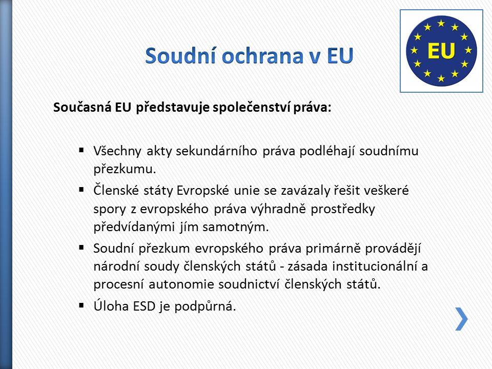 Současná EU představuje společenství práva:  Všechny akty sekundárního práva podléhají soudnímu přezkumu.  Členské státy Evropské unie se zavázaly ř