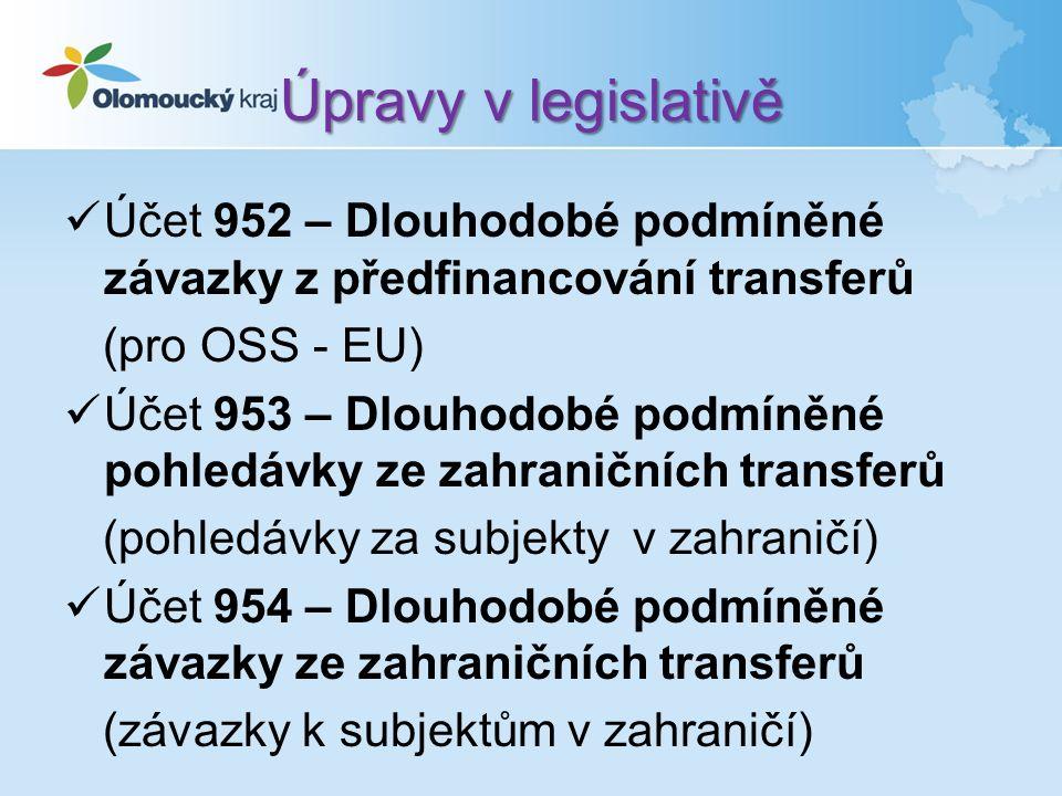 Úpravy v legislativě Účet 952 – Dlouhodobé podmíněné závazky z předfinancování transferů (pro OSS - EU) Účet 953 – Dlouhodobé podmíněné pohledávky ze zahraničních transferů (pohledávky za subjekty v zahraničí) Účet 954 – Dlouhodobé podmíněné závazky ze zahraničních transferů (závazky k subjektům v zahraničí)