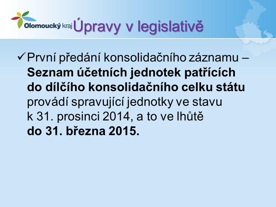 Úpravy v legislativě První předání konsolidačního záznamu – Seznam účetních jednotek patřících do dílčího konsolidačního celku státu provádí spravující jednotky ve stavu k 31.