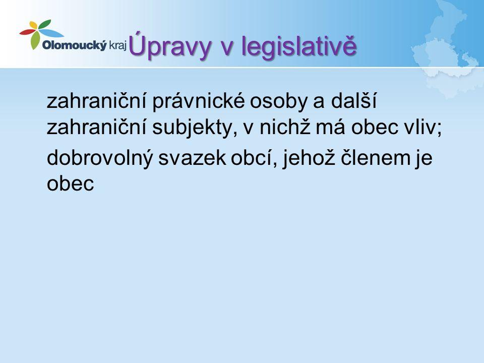 Úpravy v legislativě zahraniční právnické osoby a další zahraniční subjekty, v nichž má obec vliv; dobrovolný svazek obcí, jehož členem je obec