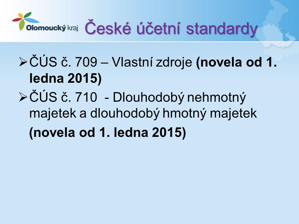 České účetní standardy  ČÚS č. 709 – Vlastní zdroje (novela od 1.