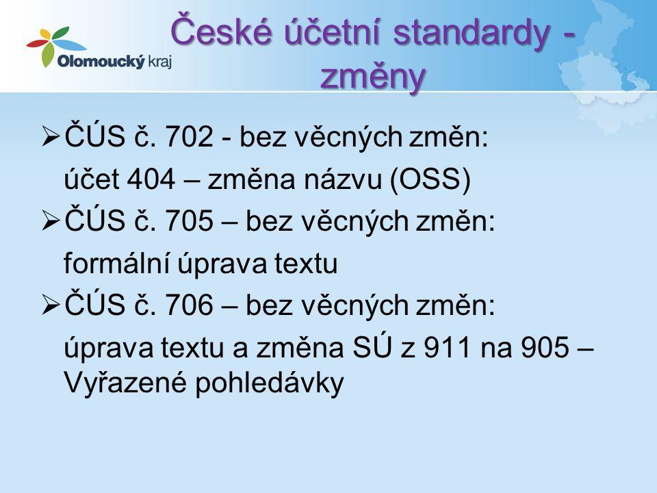 České účetní standardy - změny  ČÚS č.